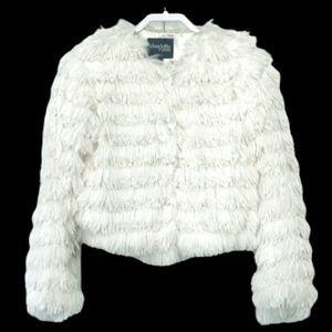 Charlotte Russe faux fur white jacket. M